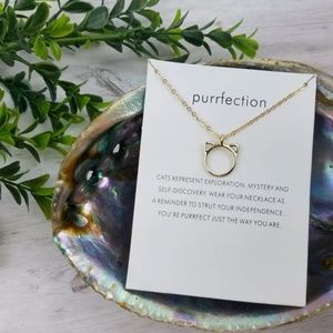 Purrfection Cat Ears Gold Colored Necklace